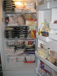 "My big freezer prepared for my 8 week disability aka ""The End of Days"""
